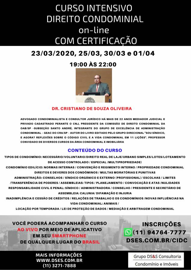 CURSO INTENSIVO DE DIREITO CONDOMINIAL ON-LINE